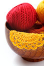 Yarn for knitting and cloth Royalty Free Stock Photos