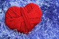Yarn of wool in heart shape symbol Royalty Free Stock Photography