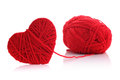 Yarn of wool in heart shape symbol red made from isolated on white background Stock Images