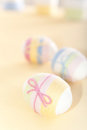 Yarn wrapped Easter eggs Royalty Free Stock Photos