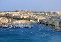 Yatch港口和新的市的看法瓦莱塔 库存照片