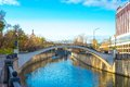 Yauza embankment with bridge in moscow downtown Royalty Free Stock Photography