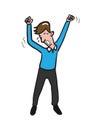 Yawing young man cartoon drawing