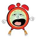 Yawning alarm clock cartoon
