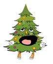 Yawning christmas tree cartoon