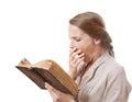 Yawning Girl Reading A Boring ...