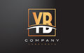 YB Y B Golden Letter Logo Design With Gold Square And Swoosh.