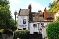 Ye olde trip to jerusalem inn situated at the foot of castle rock reputed be the oldest drinking establishment in england Royalty Free Stock Photos