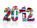 Year 2012 in 3D with flags Stock Photo