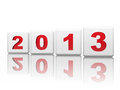 Year 2013 in white cubes and red ciphers Stock Photos