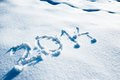 Year 2014 written in Snow Stock Photo