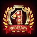 1 Year Anniversary Banner Vector. One Age, First Celebration. Shining Gold Sign. Number One. Laurel Wreath. For Business Royalty Free Stock Photo