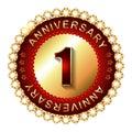 1 Year anniversary golden label.