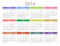 Year annual calendar monday first english color vector illustration of Stock Images