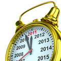 Year calendar on alarm clock Royalty Free Stock Photography