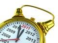 Year calendar on alarm clock Stock Images