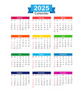 2025 Year calendar isolated on white background vector illustration Royalty Free Stock Photo