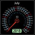 Year 2018 calendar speedometer car in concept. July