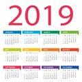 2019 year calendar - vector Illustration. Week starts on Sunday Royalty Free Stock Photo