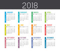 Year 2018 Calendar Vector Temp...