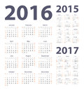 Year calendars vector simple set of week starts from sunday Royalty Free Stock Photo