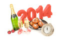 The year celebrating new with champagne Stock Images