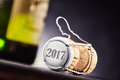 The year 2017 on end of cork and metal bottle cap Royalty Free Stock Photo