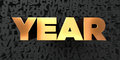 Year - Gold text on black background - 3D rendered royalty free stock picture