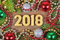 2018 year golden figures and Christmas decorations
