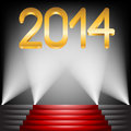 Year golden figures on red carpet stairs Royalty Free Stock Images