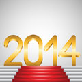 Year golden figures and red carpet on stairs Royalty Free Stock Images
