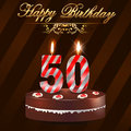 50 year Happy Birthday Card with cake and candles, 50th birthday Royalty Free Stock Photo