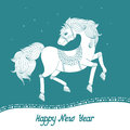 Year of horse the happy new vector illustration Stock Image