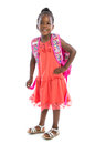 5 year old african american girl standing wear casual outfit Royalty Free Stock Photo