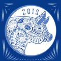 2019 year of the pig. Blue Flower Emblem of pigs head in the style of national porcelain painting Royalty Free Stock Photo