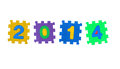 Year from puzzle the made of number isolated on white background Stock Photography