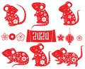 2020 year of rat. Mouse collection for Chinese new year design. animal. Lantern, flowers and other isolated elements in red color