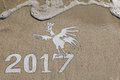 2017 year of the rooster on the beach