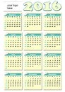 2016 year-round calendar with rolled paper tickets for each month, light yellow and green color, empty place for corporate logo Royalty Free Stock Photo