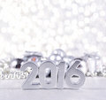 Year silver figures and silvery сhristmas decorations on the background of christmas Stock Photography