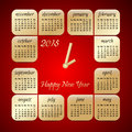 2015 year vector red and gold calendar stylized clock Royalty Free Stock Photo