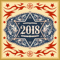 2018 year western cowboy belt buckle with sheriff badge Royalty Free Stock Photo