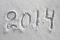Year written in snow for the new year and christmas Royalty Free Stock Images