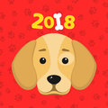 The year 2018 is a yellow earth dog. A lovely cartoon dog looks. Cartoon figures. Red pattern from the tracks. Cover for the calen