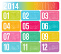 Yearly calendar colorful illustration Royalty Free Stock Photo