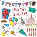 editable birthday set illustration design