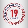 19 Years Anniversary Celebration Design Template. Anniversary vector and illustration. Nineteen years logo.