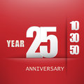 25 years Anniversary celebration logo, flat design isolated on red background, vector elements for banner, invitation Royalty Free Stock Photo