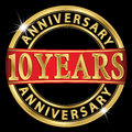 10 years anniversary golden label with ribbon, vector illust