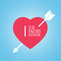 1 years anniversary of wedding or marriage vector icon, illustration